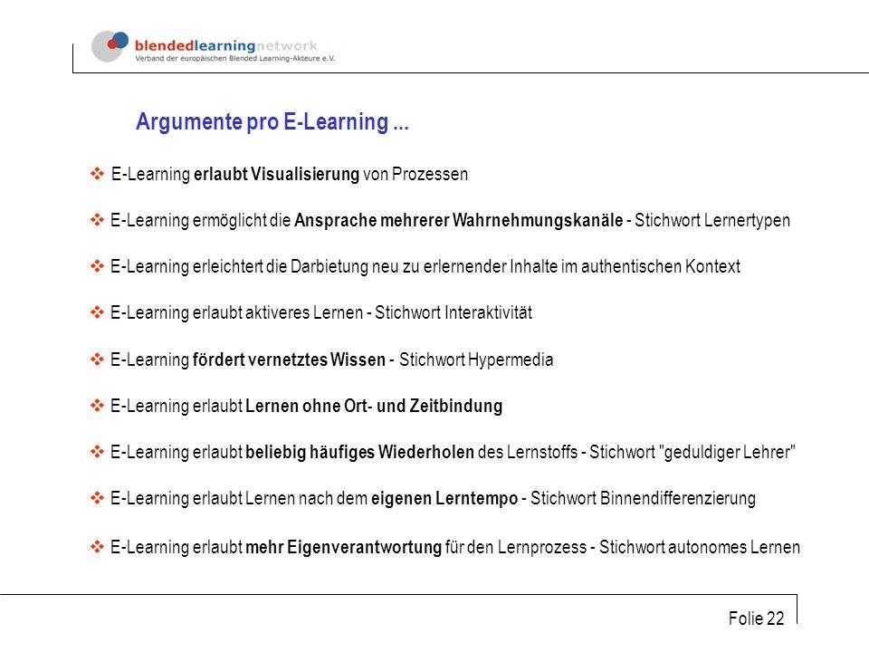 Folie 22 Argumente pro E-Learning...
