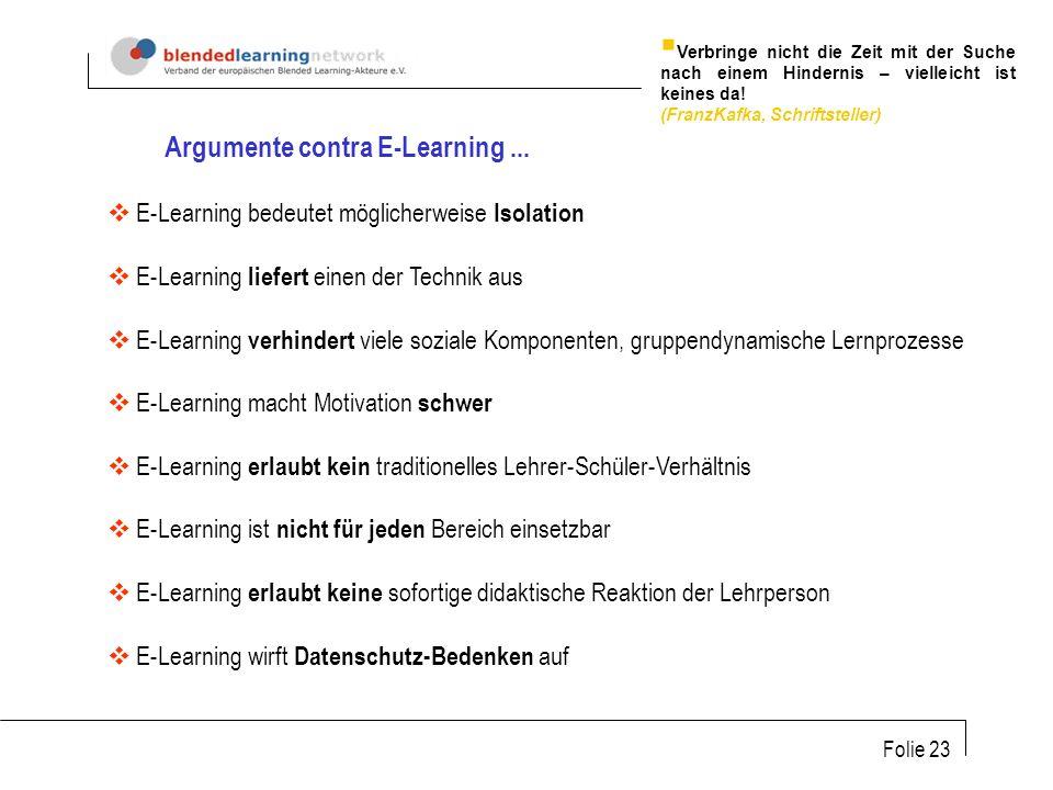 Folie 23 Argumente contra E-Learning...