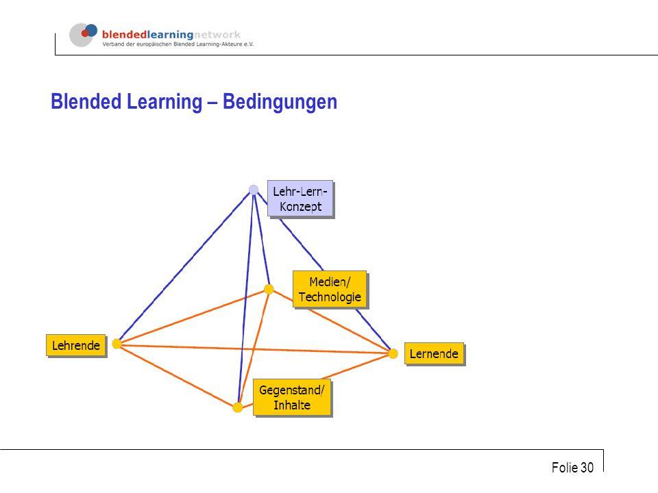 Folie 30 Blended Learning – Bedingungen