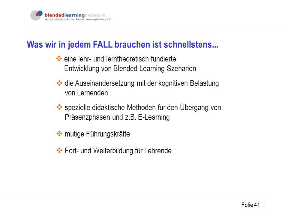 Folie 41 eine lehr- und lerntheoretisch fundierte Entwicklung von Blended-Learning-Szenarien die Auseinandersetzung mit der kognitiven Belastung von Lernenden spezielle didaktische Methoden für den Übergang von Präsenzphasen und z.B.