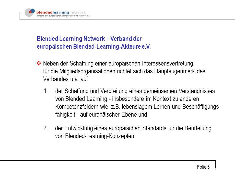 Folie 5 Blended Learning Network – Verband der europäischen Blended-Learning-Akteure e.V.