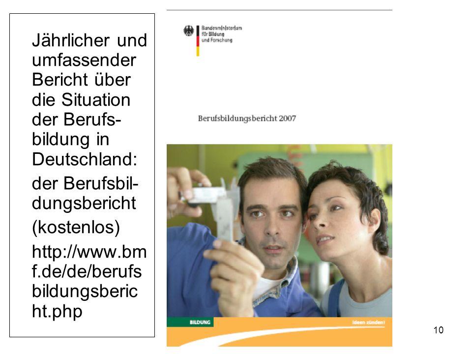 10 Jährlicher und umfassender Bericht über die Situation der Berufs- bildung in Deutschland: der Berufsbil- dungsbericht (kostenlos) http://www.bm f.de/de/berufs bildungsberic ht.php