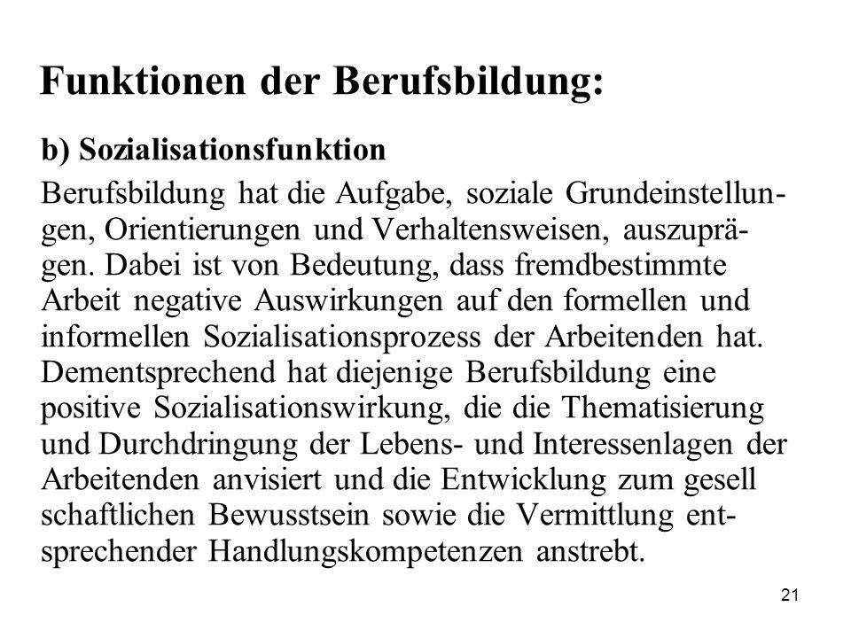 21 Funktionen der Berufsbildung: b) Sozialisationsfunktion Berufsbildung hat die Aufgabe, soziale Grundeinstellun- gen, Orientierungen und Verhaltensweisen, auszuprä- gen.
