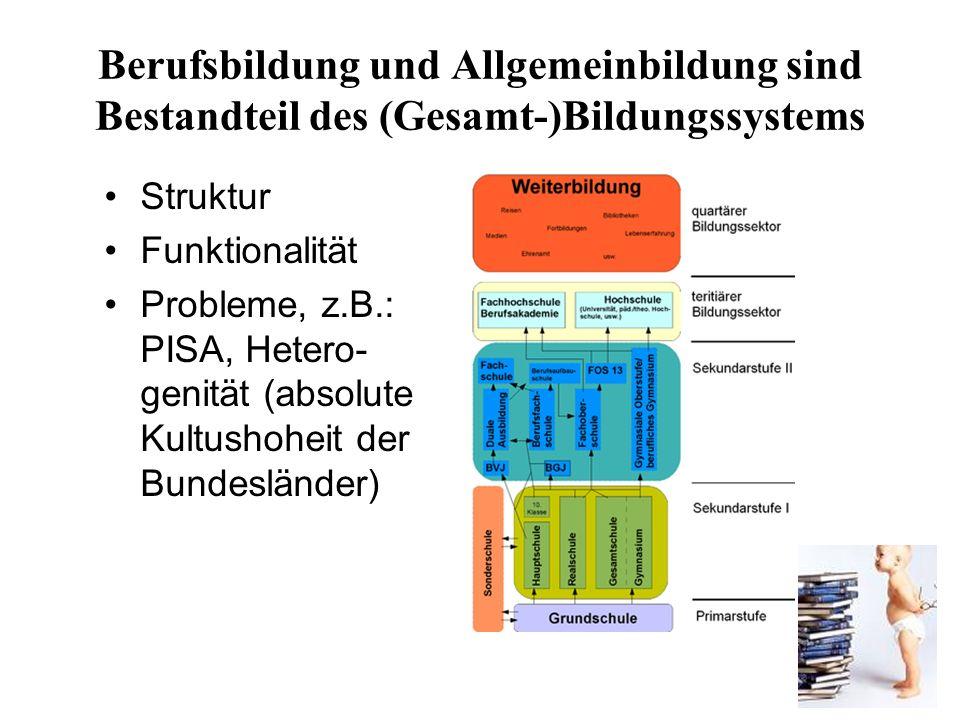 7 Berufsbildung und Allgemeinbildung sind Bestandteil des (Gesamt-)Bildungssystems Struktur Funktionalität Probleme, z.B.: PISA, Hetero- genität (absolute Kultushoheit der Bundesländer)