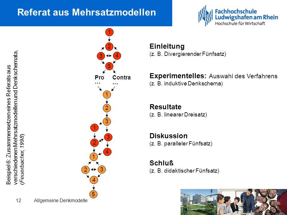 Allgemeine Denkmodelle12 Referat aus Mehrsatzmodellen Einleitung (z.