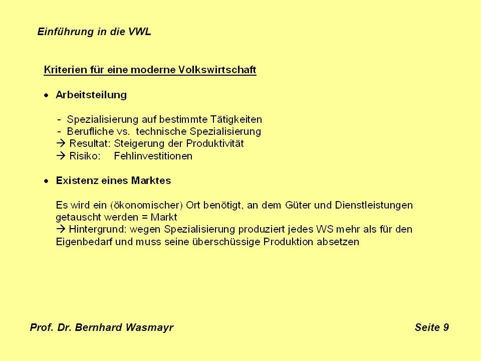 Prof. Dr. Bernhard Wasmayr Seite 9 Einführung in die VWL
