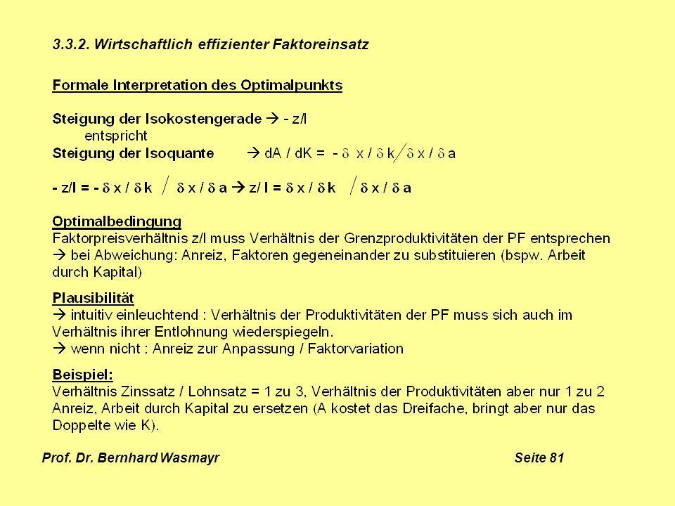 Prof. Dr. Bernhard Wasmayr Seite 81 3.3.2. Wirtschaftlich effizienter Faktoreinsatz