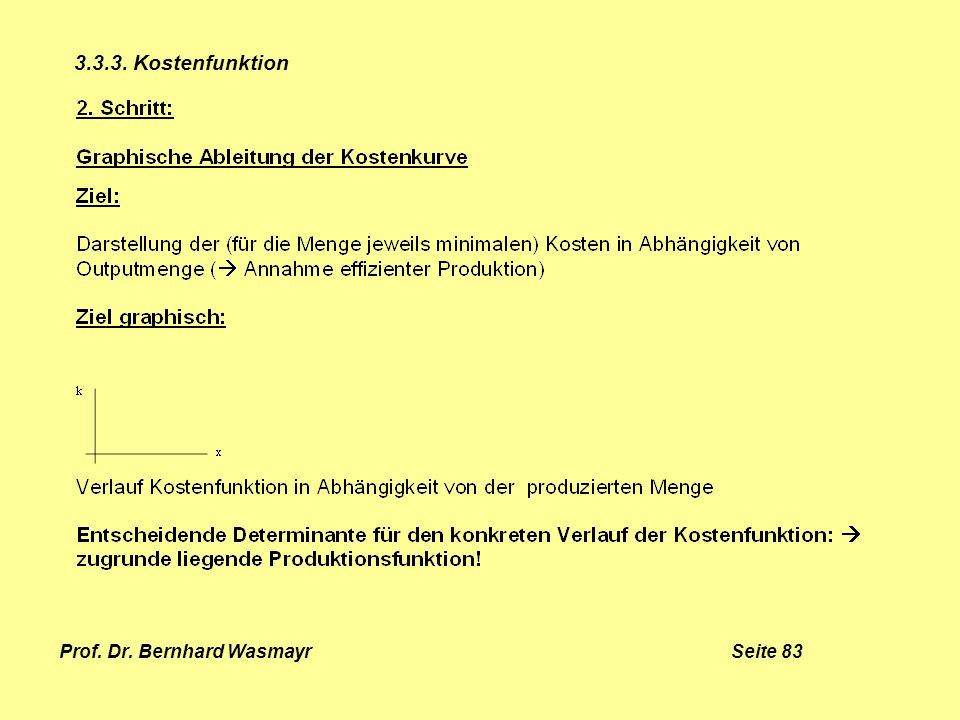 Prof. Dr. Bernhard Wasmayr Seite 83 3.3.3. Kostenfunktion