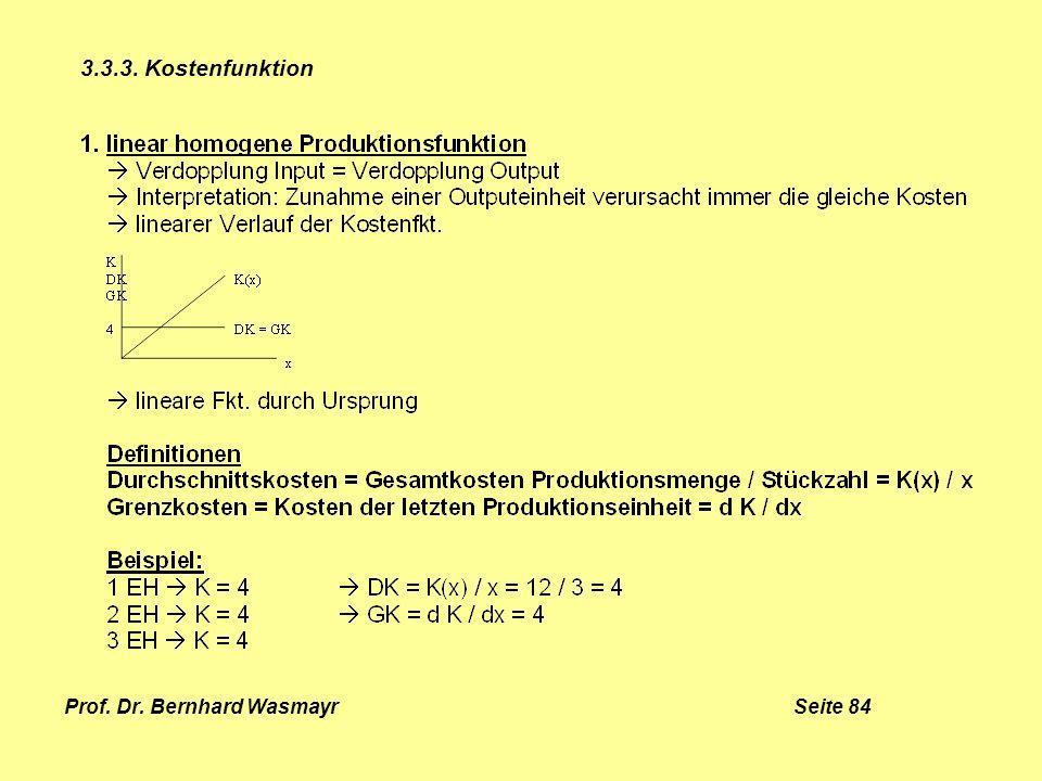 Prof. Dr. Bernhard Wasmayr Seite 84 3.3.3. Kostenfunktion