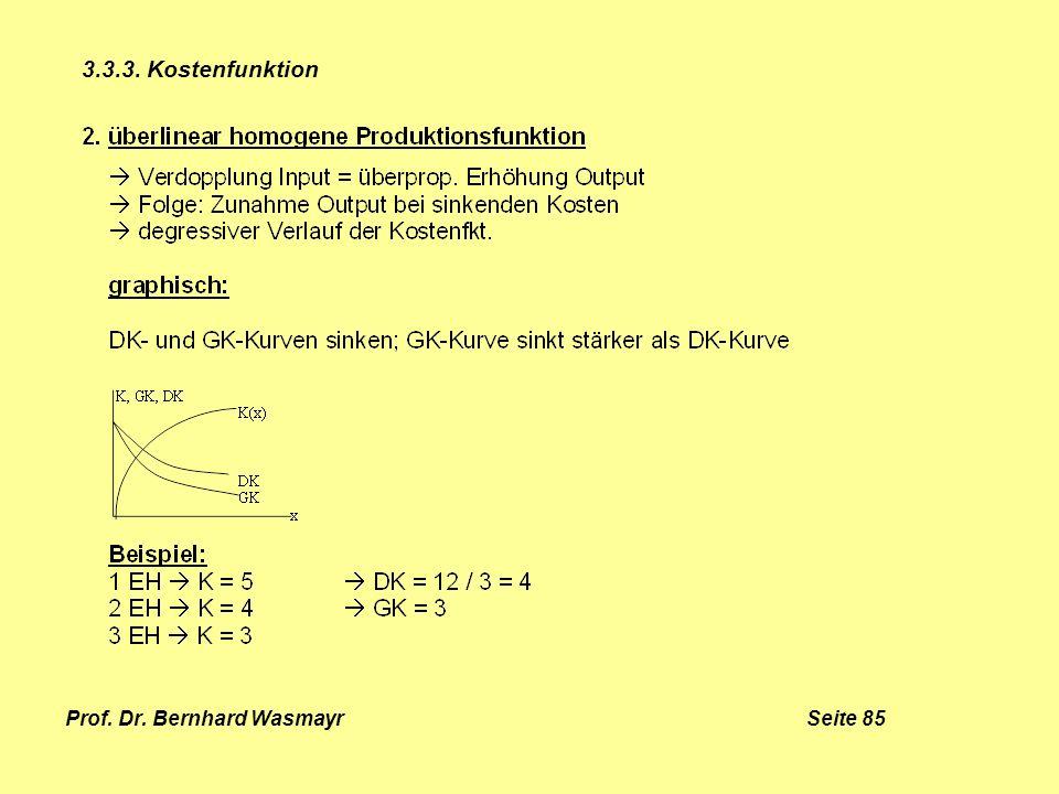 Prof. Dr. Bernhard Wasmayr Seite 85 3.3.3. Kostenfunktion