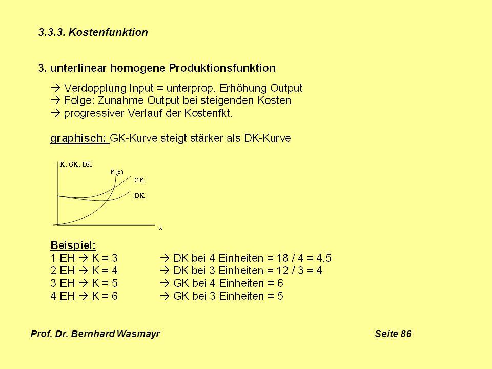 Prof. Dr. Bernhard Wasmayr Seite 86 3.3.3. Kostenfunktion