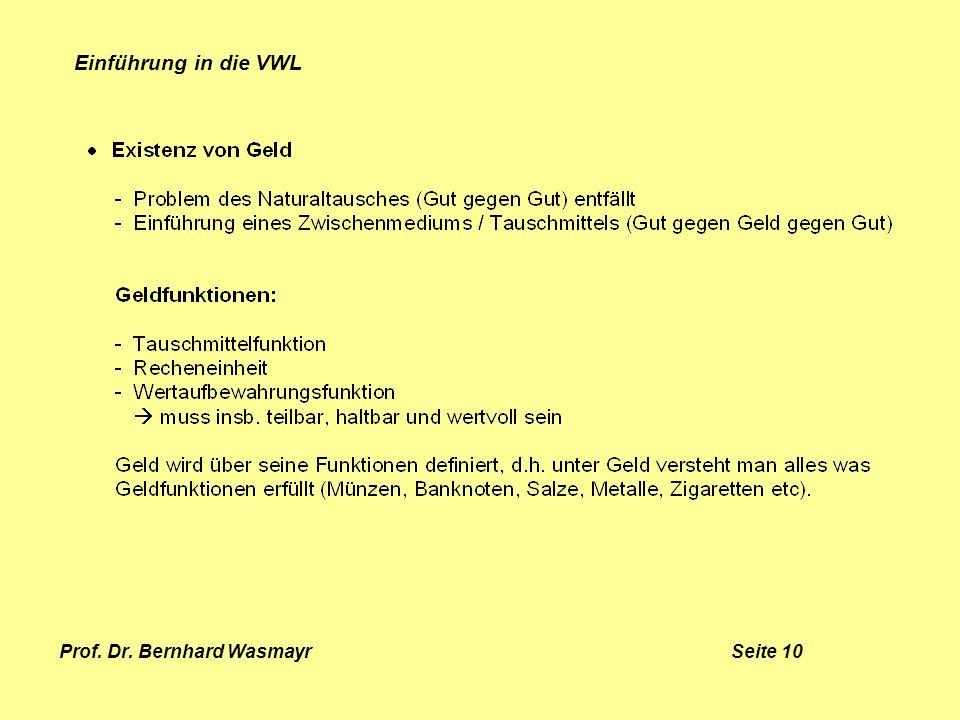 Prof. Dr. Bernhard Wasmayr Seite 10 Einführung in die VWL