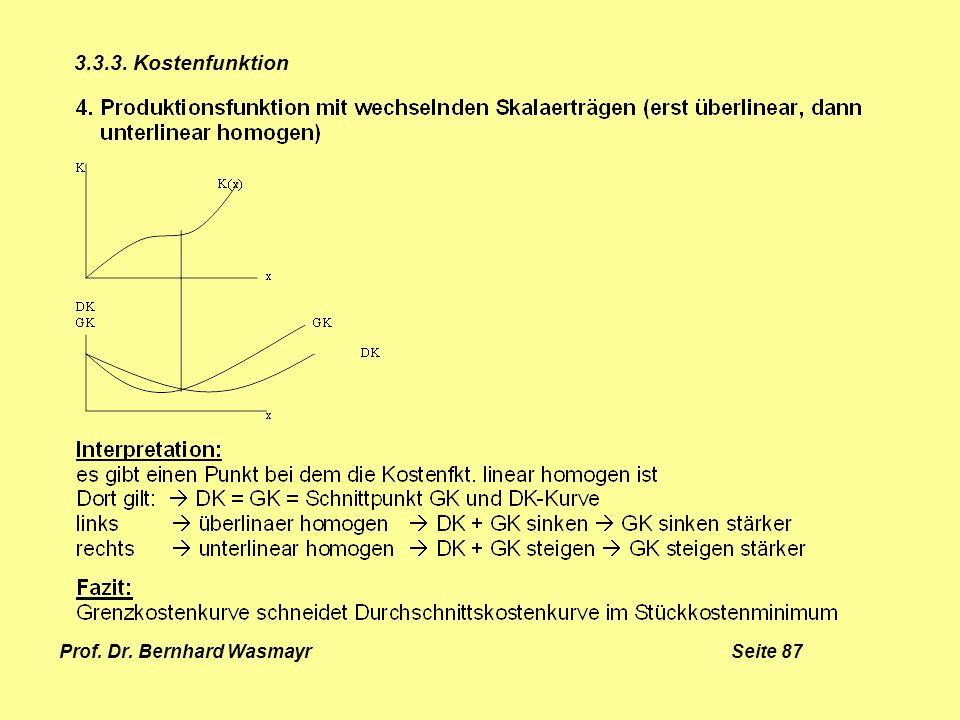 Prof. Dr. Bernhard Wasmayr Seite 87 3.3.3. Kostenfunktion