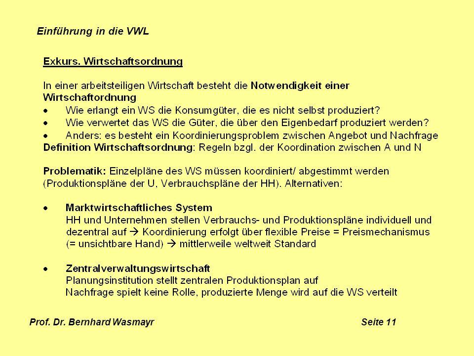 Prof. Dr. Bernhard Wasmayr Seite 11 Einführung in die VWL