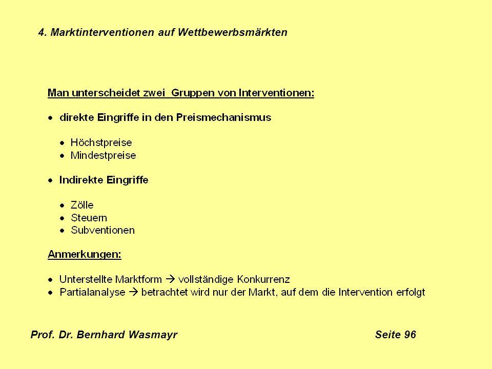 Prof. Dr. Bernhard Wasmayr Seite 96 4. Marktinterventionen auf Wettbewerbsmärkten