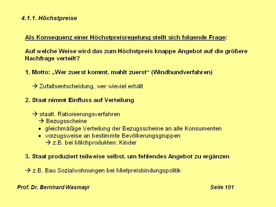Prof. Dr. Bernhard Wasmayr Seite 101 4.1.1. Höchstpreise