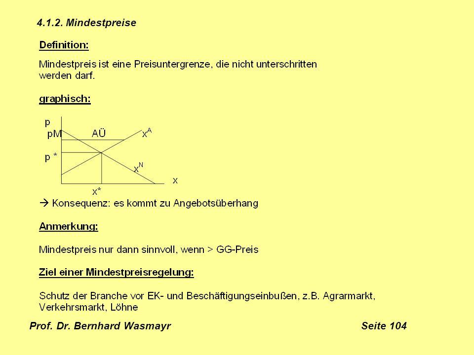 Prof. Dr. Bernhard Wasmayr Seite 104 4.1.2. Mindestpreise