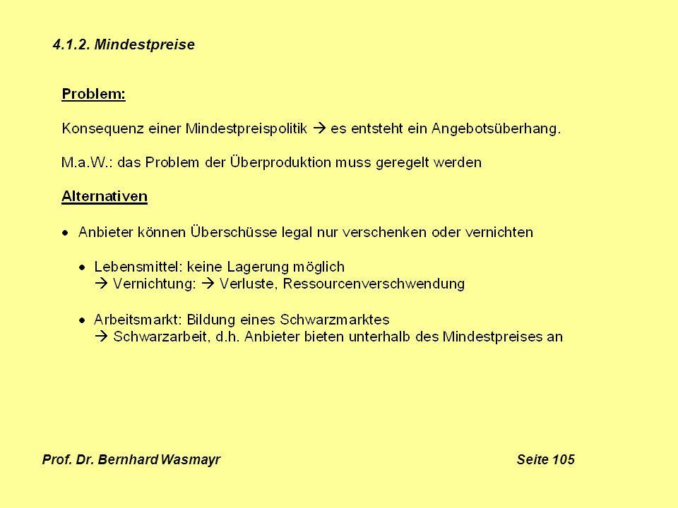 Prof. Dr. Bernhard Wasmayr Seite 105 4.1.2. Mindestpreise