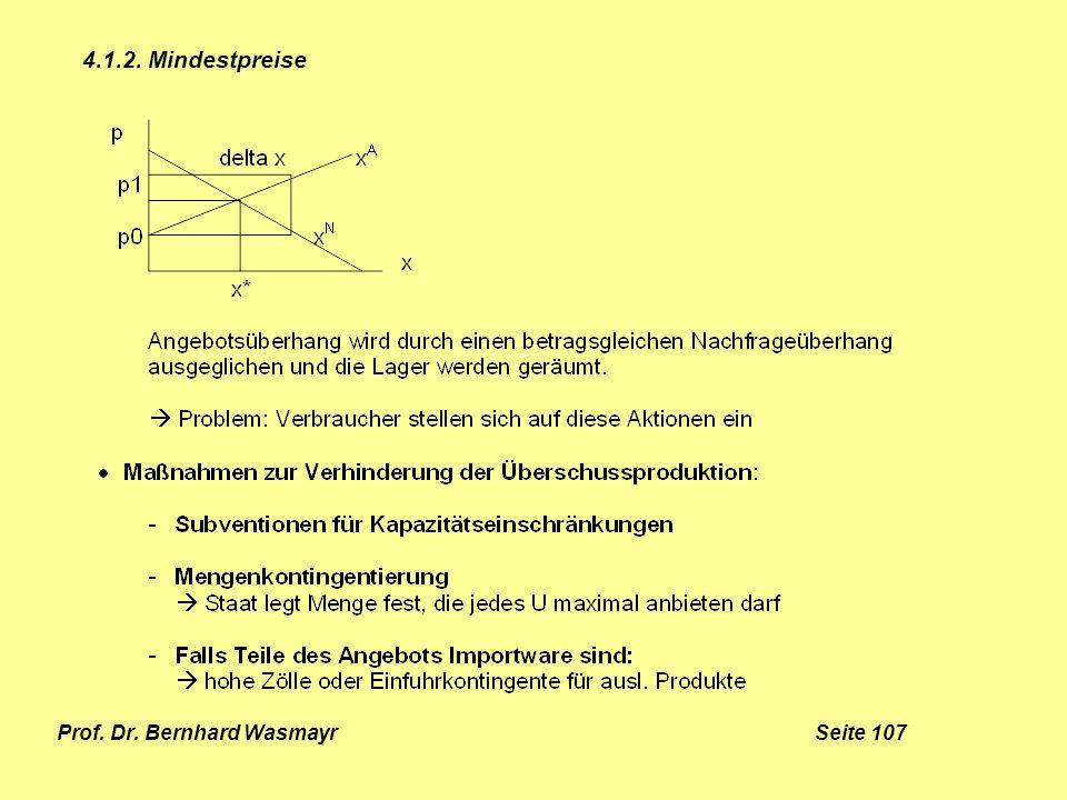 Prof. Dr. Bernhard Wasmayr Seite 107 4.1.2. Mindestpreise