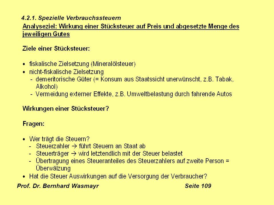 Prof. Dr. Bernhard Wasmayr Seite 109 4.2.1. Spezielle Verbrauchssteuern