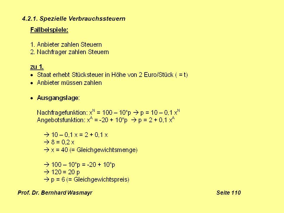 Prof. Dr. Bernhard Wasmayr Seite 110 4.2.1. Spezielle Verbrauchssteuern