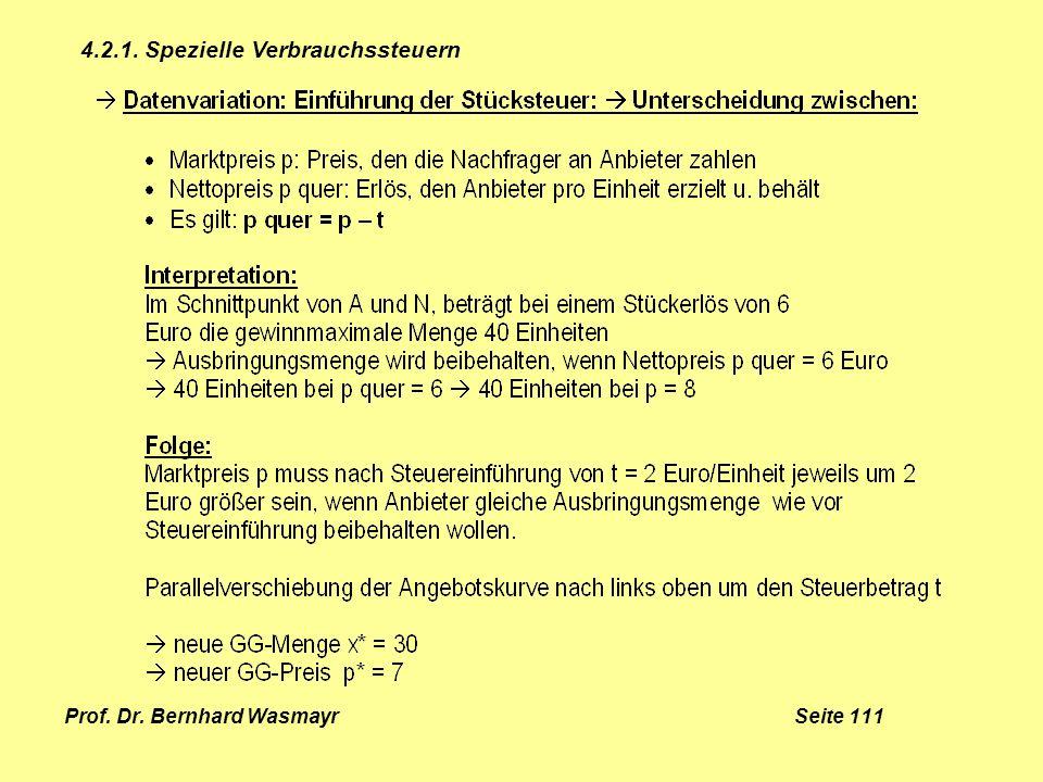 Prof. Dr. Bernhard Wasmayr Seite 111 4.2.1. Spezielle Verbrauchssteuern