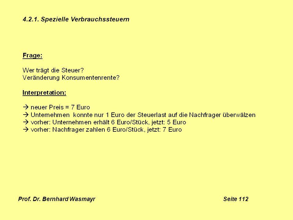 Prof. Dr. Bernhard Wasmayr Seite 112 4.2.1. Spezielle Verbrauchssteuern