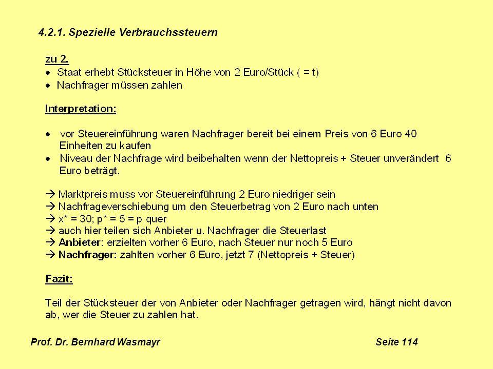 Prof. Dr. Bernhard Wasmayr Seite 114 4.2.1. Spezielle Verbrauchssteuern