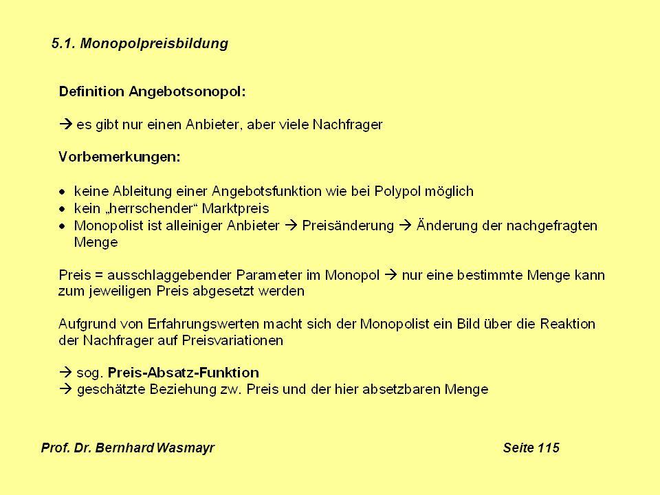 Prof. Dr. Bernhard Wasmayr Seite 115 5.1. Monopolpreisbildung