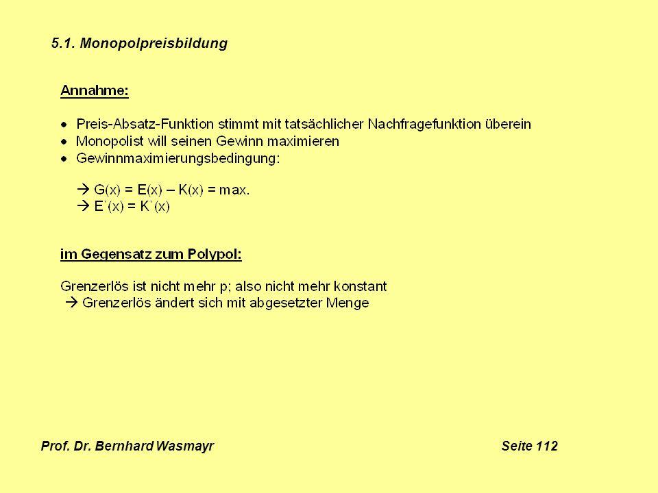 Prof. Dr. Bernhard Wasmayr Seite 112 5.1. Monopolpreisbildung