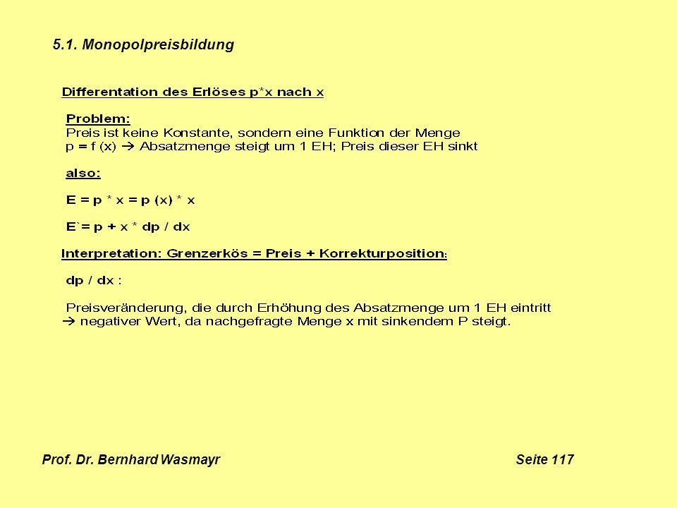 Prof. Dr. Bernhard Wasmayr Seite 117 5.1. Monopolpreisbildung