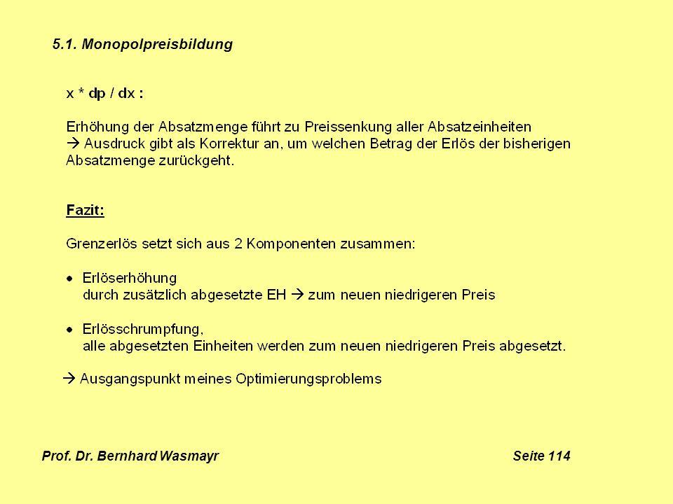 Prof. Dr. Bernhard Wasmayr Seite 114 5.1. Monopolpreisbildung