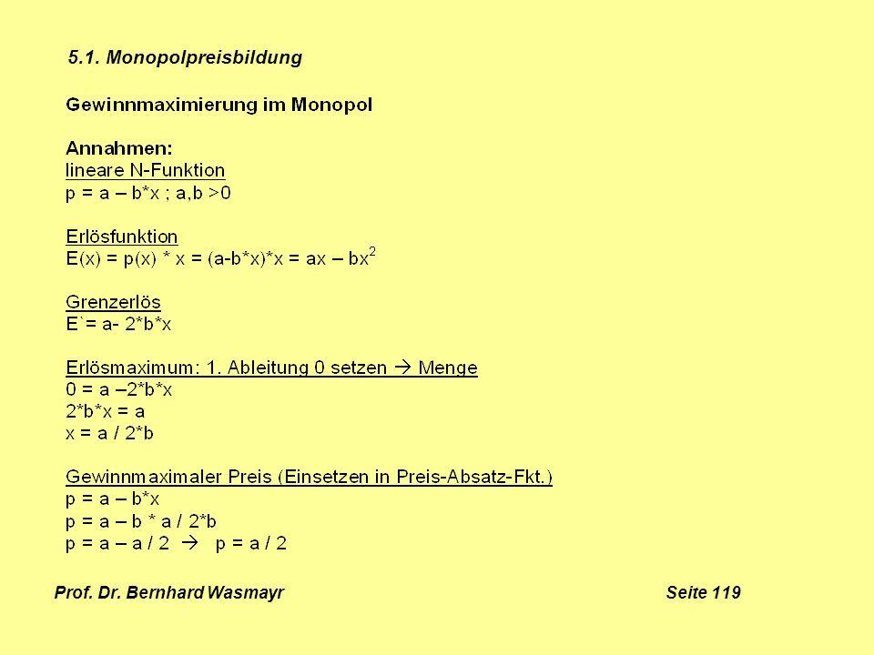 Prof. Dr. Bernhard Wasmayr Seite 119 5.1. Monopolpreisbildung
