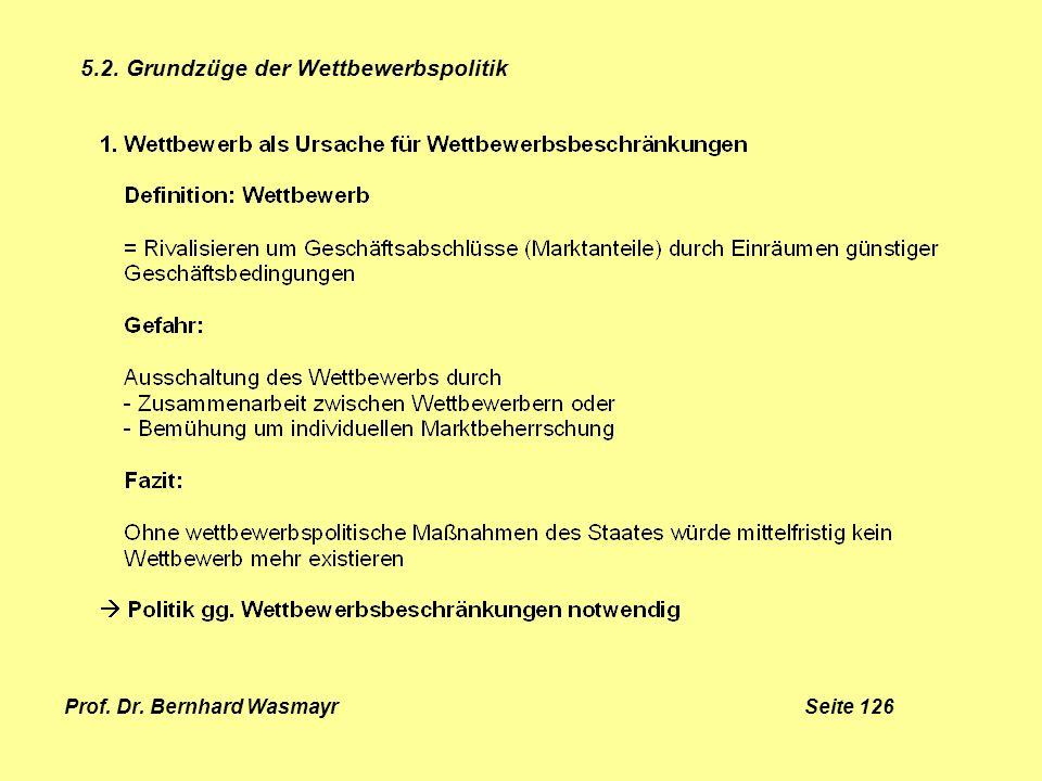 Prof. Dr. Bernhard Wasmayr Seite 126 5.2. Grundzüge der Wettbewerbspolitik
