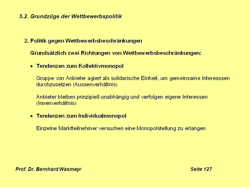 Prof. Dr. Bernhard Wasmayr Seite 127 5.2. Grundzüge der Wettbewerbspolitik