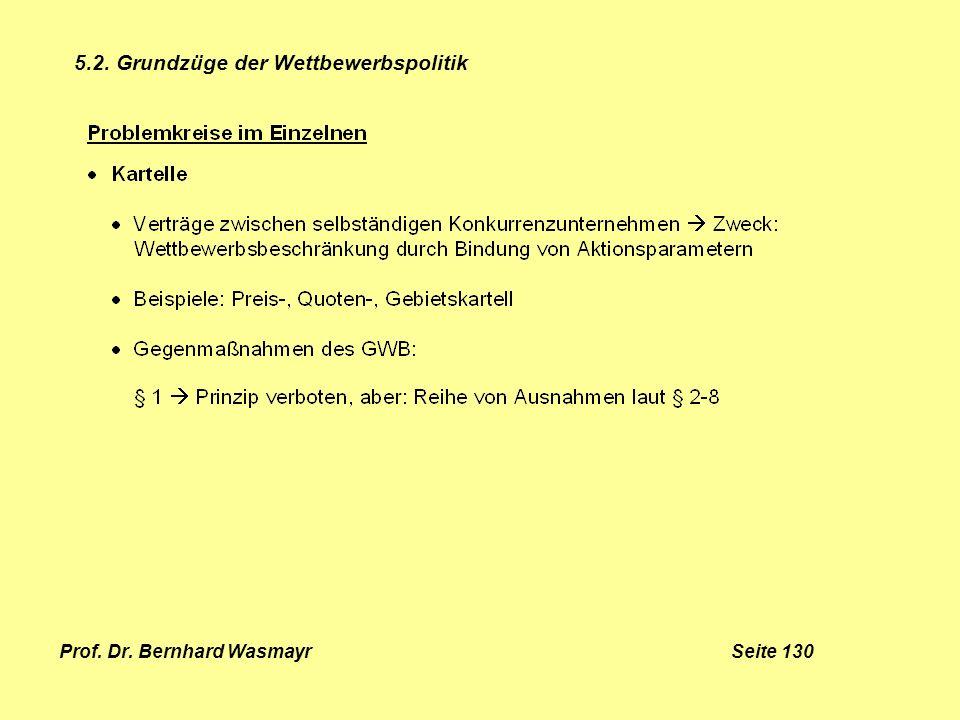 Prof. Dr. Bernhard Wasmayr Seite 130 5.2. Grundzüge der Wettbewerbspolitik
