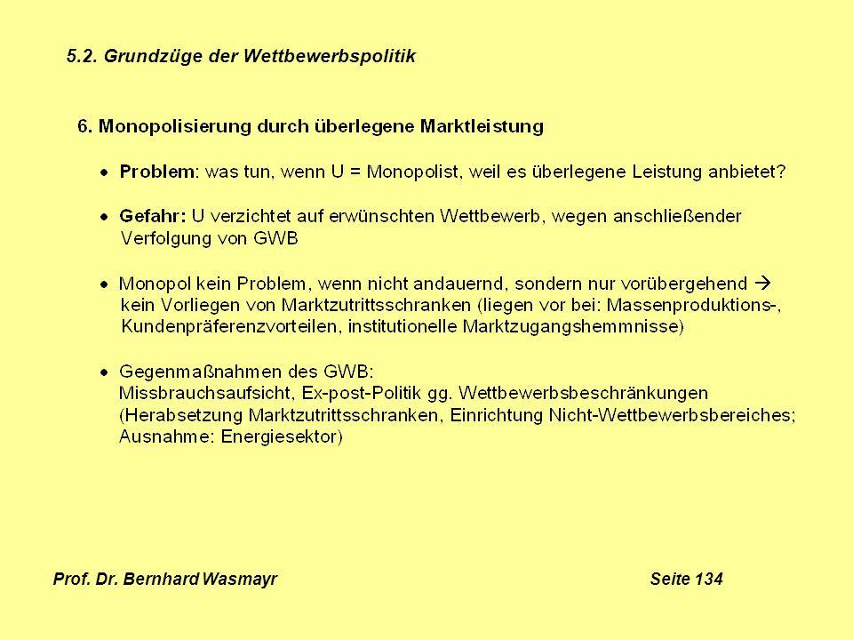 Prof. Dr. Bernhard Wasmayr Seite 134 5.2. Grundzüge der Wettbewerbspolitik