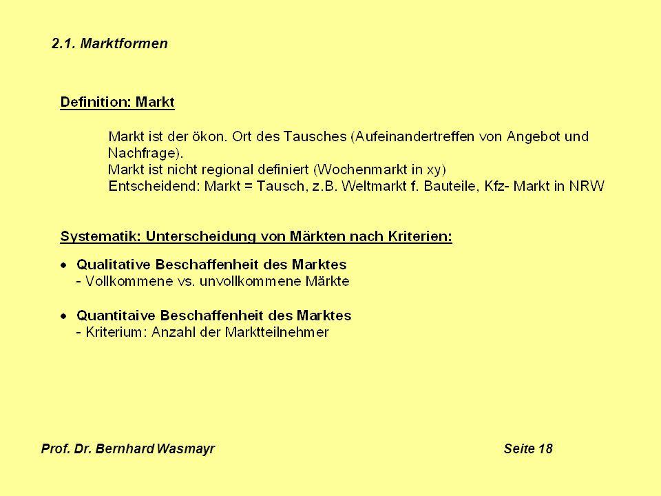 Prof. Dr. Bernhard Wasmayr Seite 18 2.1. Marktformen