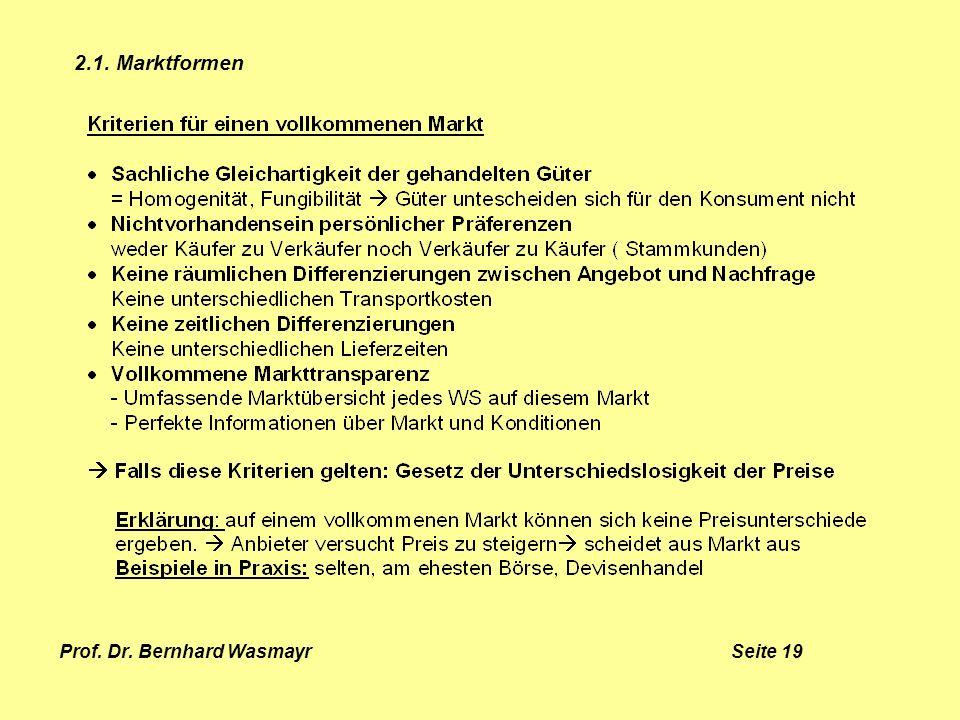Prof. Dr. Bernhard Wasmayr Seite 19 2.1. Marktformen