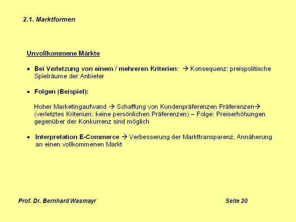Prof. Dr. Bernhard Wasmayr Seite 20 2.1. Marktformen