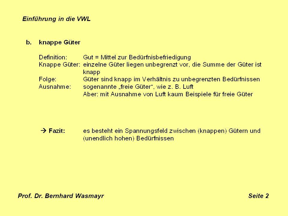 Prof. Dr. Bernhard Wasmayr Seite 2 Einführung in die VWL