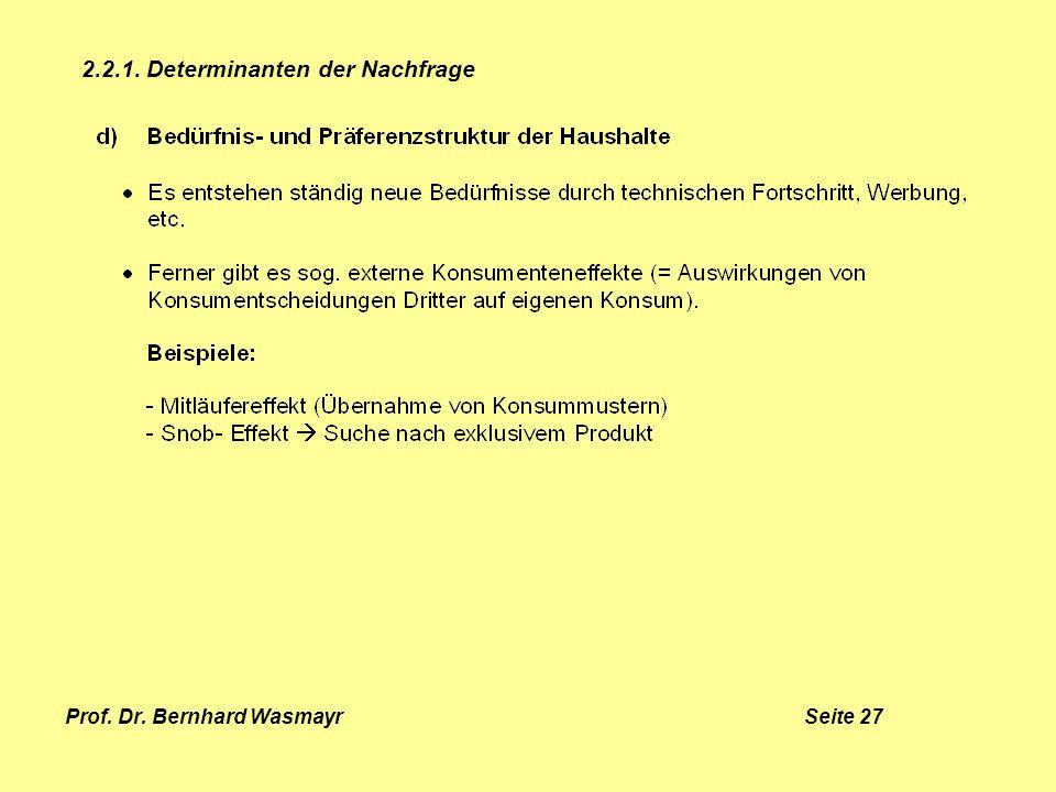 Prof. Dr. Bernhard Wasmayr Seite 27 2.2.1. Determinanten der Nachfrage