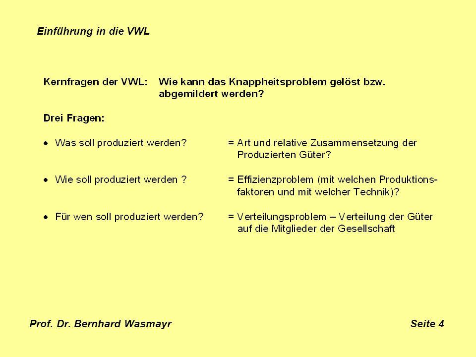 Prof. Dr. Bernhard Wasmayr Seite 4 Einführung in die VWL