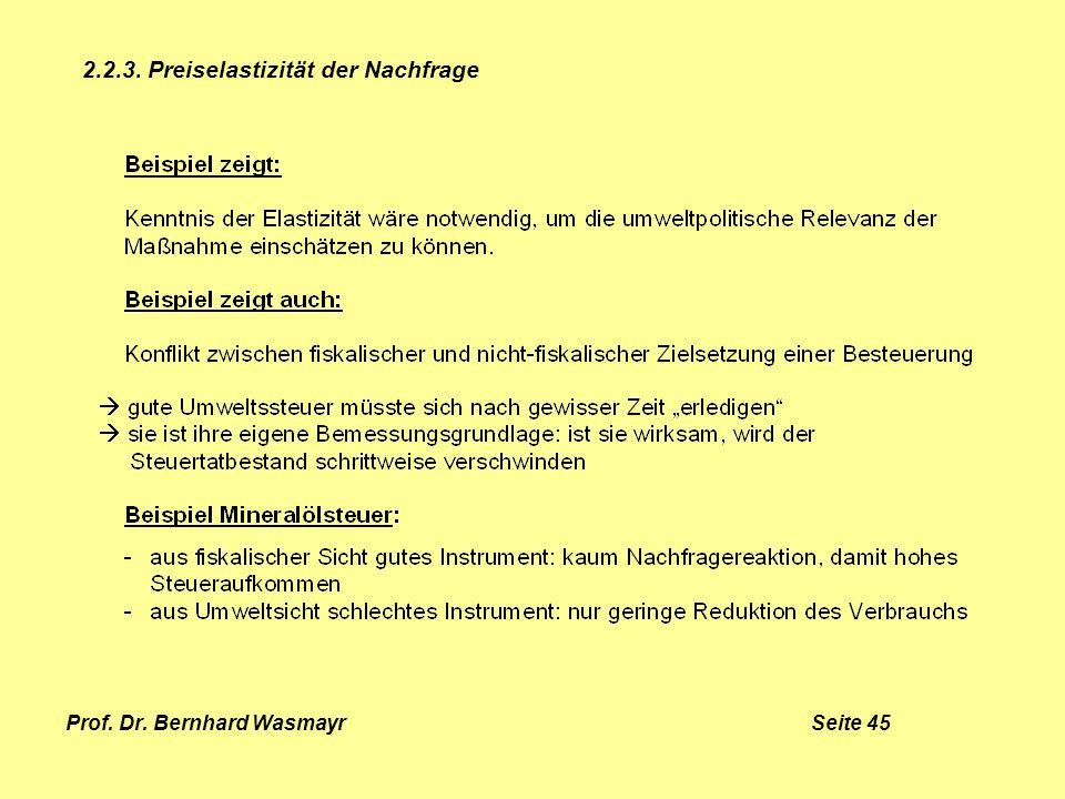 Prof. Dr. Bernhard Wasmayr Seite 45 2.2.3. Preiselastizität der Nachfrage