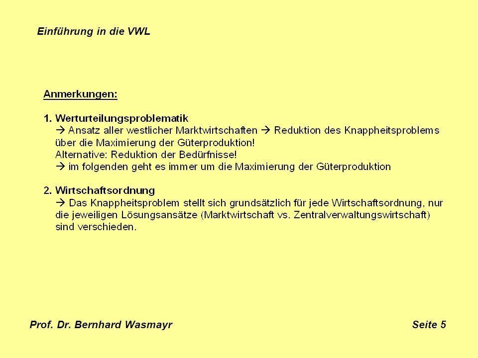 Prof. Dr. Bernhard Wasmayr Seite 5 Einführung in die VWL