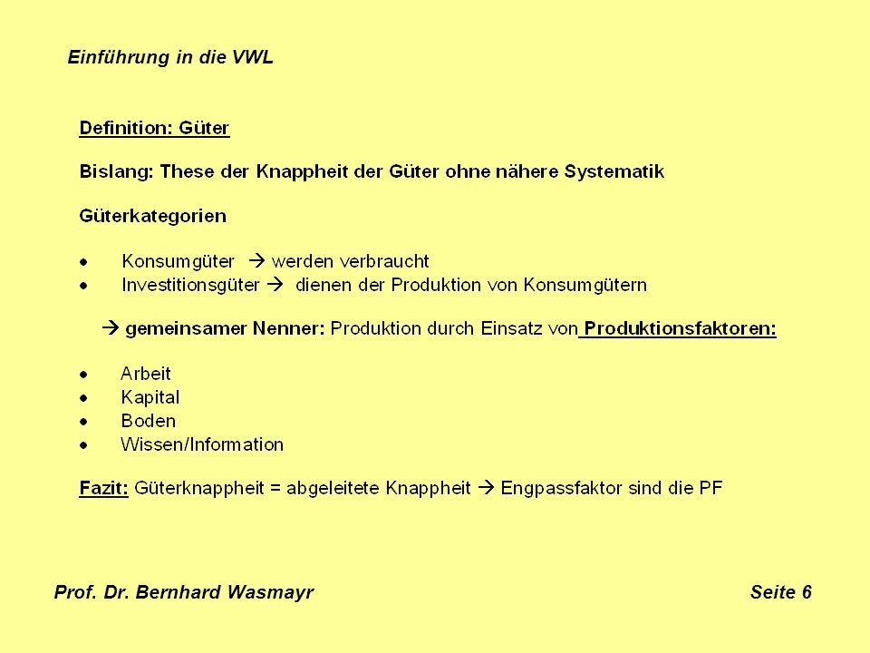 Prof. Dr. Bernhard Wasmayr Seite 6 Einführung in die VWL