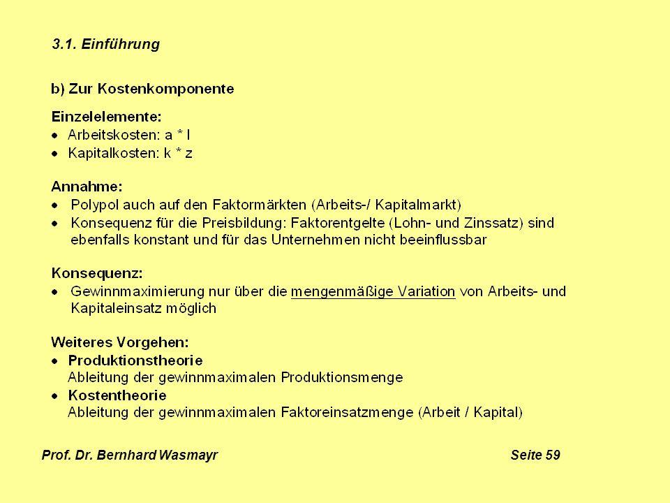 Prof. Dr. Bernhard Wasmayr Seite 59 3.1. Einführung