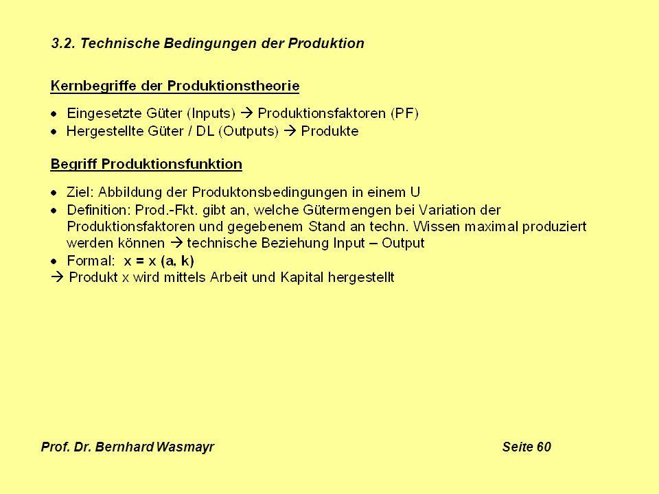 Prof. Dr. Bernhard Wasmayr Seite 60 3.2. Technische Bedingungen der Produktion