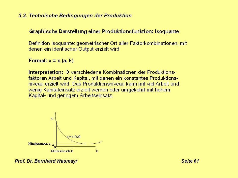 Prof. Dr. Bernhard Wasmayr Seite 61 3.2. Technische Bedingungen der Produktion