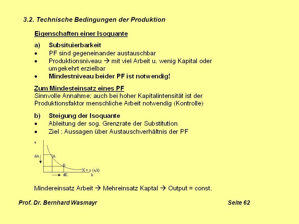 Prof. Dr. Bernhard Wasmayr Seite 62 3.2. Technische Bedingungen der Produktion